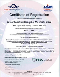4371 Wright Enrichment Inc dba The Wright Group FSSC 22000 092016